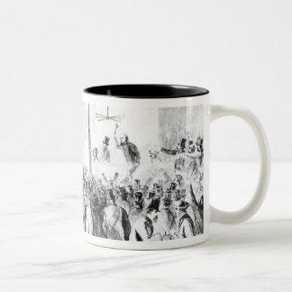 Gallagher's stock exchange (engraving) (b/w photo) Two-Tone coffee mug