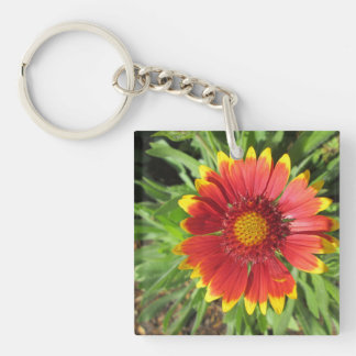Gallardia Red Yellow Double-Sided Square Acrylic Keychain