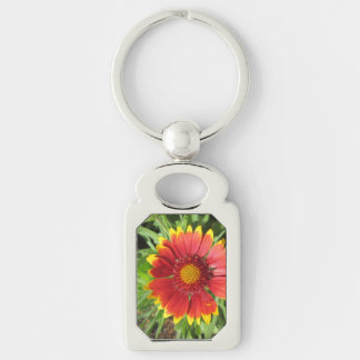 Gallardia Red Yellow Silver-Colored Rectangular Metal Keychain