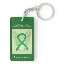 Gallbladder Cancer Awareness Green Ribbon Keychain