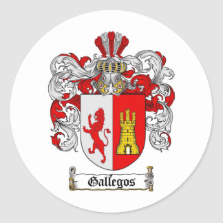 GALLEGOS FAMILY CREST -  GALLEGOS COAT OF ARMS CLASSIC ROUND STICKER
