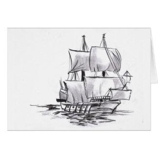 Galleon at Sea Art Blank Card