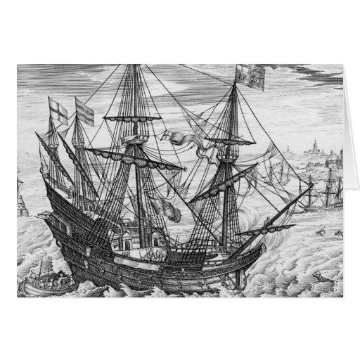 Galleon de la reina Elizabeth Tarjetón
