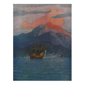Galleon en la tubería española tarjetas postales