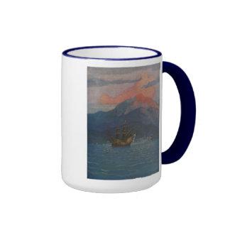 Galleon en la tubería española tazas de café