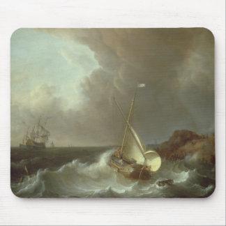 Galleon en los mares tempestuosos alfombrillas de raton