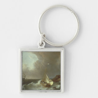 Galleon in Stormy Seas Silver-Colored Square Keychain
