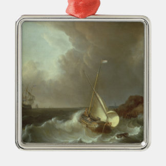 Galleon in Stormy Seas Metal Ornament