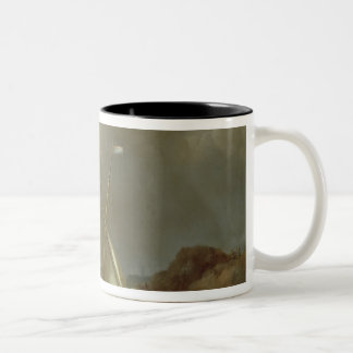 Galleon in Stormy Seas Two-Tone Coffee Mug