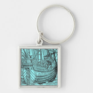 Galleon Sailing Ship Silver-Colored Square Keychain