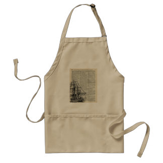 Galleon Ship Over Dictionary Page Adult Apron