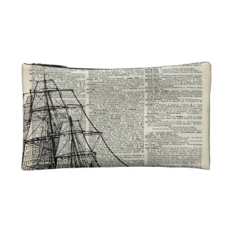 Galleon Ship Over Dictionary Page Makeup Bag