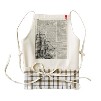 Galleon Ship Over Dictionary Page Zazzle HEART Apron