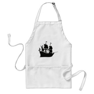 Galleon Ship Silhouette Adult Apron