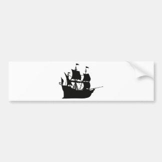 Galleon Ship Silhouette Bumper Sticker