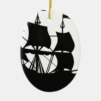 Galleon Ship Silhouette Ceramic Ornament