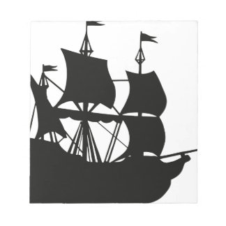 Galleon Ship Silhouette Notepad