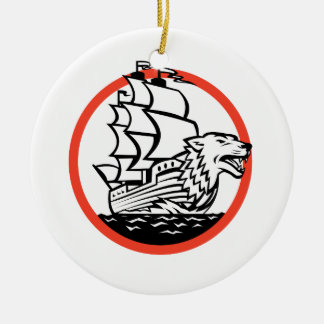 Galleon Ship Wolf on Bow Circle Retro Ceramic Ornament