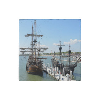 Galleon Ships Stone Magnet