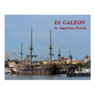 Galleon Ships St. Augustine, Florida, Postcard