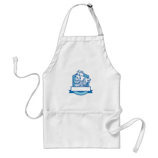 Galleon With Wolf on Bow Crest Retro Adult Apron