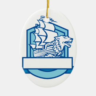 Galleon With Wolf on Bow Crest Retro Ceramic Ornament