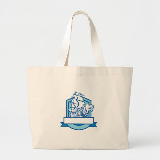 Galleon With Wolf on Bow Crest Retro Large Tote Bag