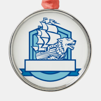 Galleon With Wolf on Bow Crest Retro Metal Ornament