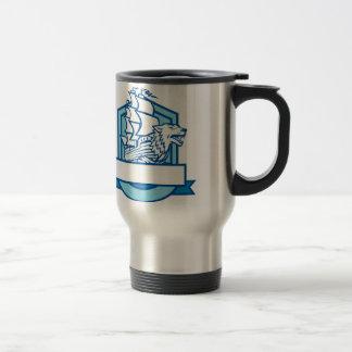 Galleon With Wolf on Bow Crest Retro Travel Mug