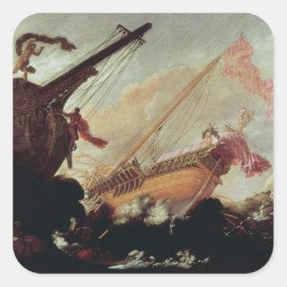 Galleons arruinó en una orilla rocosa pegatina cuadradas personalizada