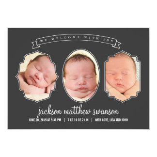 Gallery Frames Birth Announcements - Charcoal
