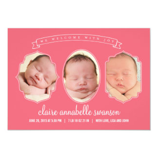 Gallery Frames Birth Announcements - Pink