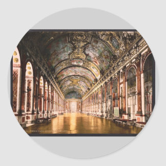 Gallery of Mirrors, Versailles, France vintage Pho Round Stickers