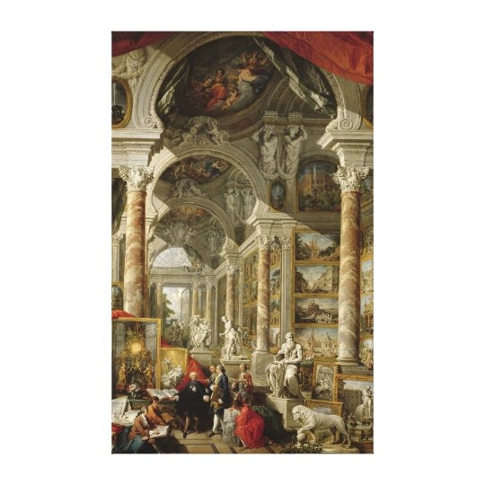 Gallery with Views of Modern Rome, 1759 Canvas Print