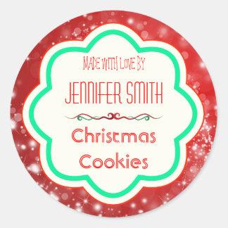 Galleta cocida panadería del navidad del día de etiquetas redondas