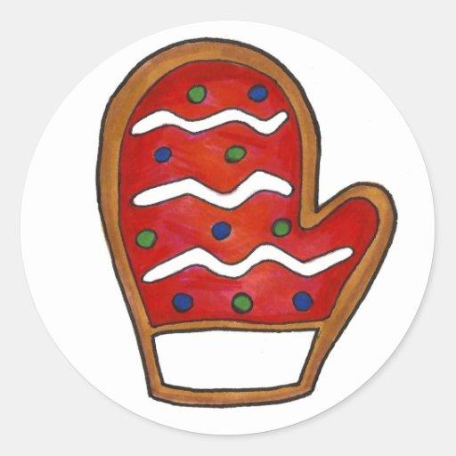 Galleta de azúcar de la manopla del navidad etiquetas