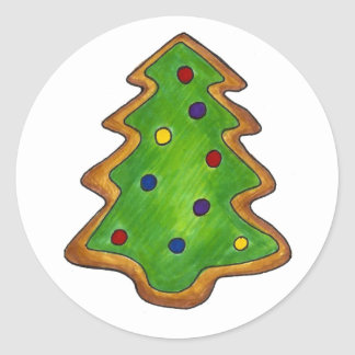 Galleta de azúcar del árbol de navidad pegatina redonda