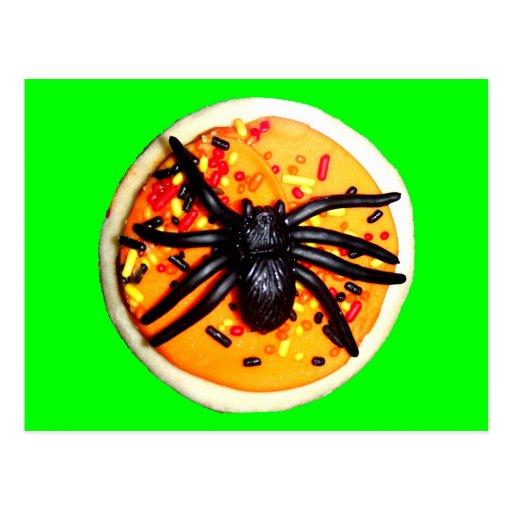 Galleta de la araña de Halloween Tarjetas Postales