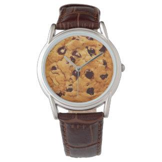 Galleta de microprocesador de chocolate reloj de mano