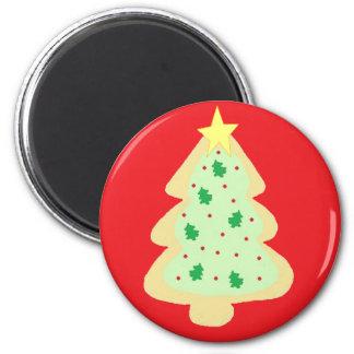 Galleta del árbol de navidad imán redondo 5 cm
