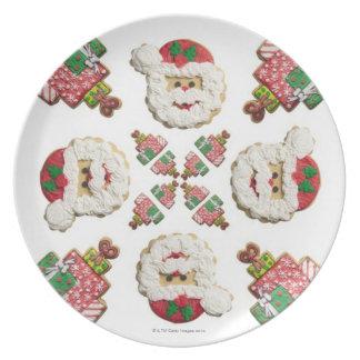 Galleta del copo de nieve de Santa, del árbol y de Plato De Comida