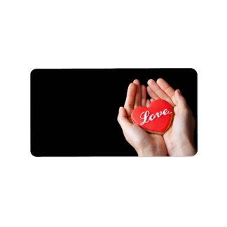 Galleta del corazón del amor de la tarjeta del día etiqueta de dirección