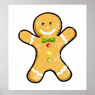 Galleta del hombre de pan de jengibre del navidad póster