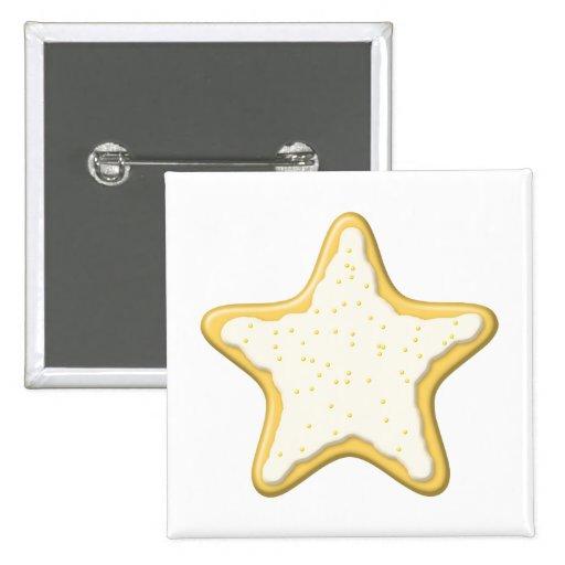 Galleta helada de la estrella. Amarillo y blanco Pin