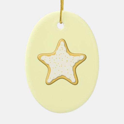 Galleta helada de la estrella. Amarillo y crema Adorno Ovalado De Cerámica