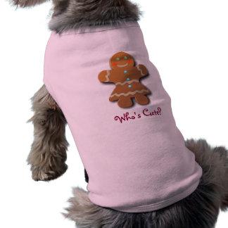 Galleta linda del pan de jengibre playera sin mangas para perro