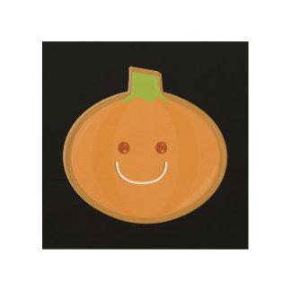 Galleta sonriente de la calabaza de Halloween Cuadro De Madera