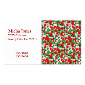Galletas de azúcar rojas del navidad verde y blanc tarjetas de visita