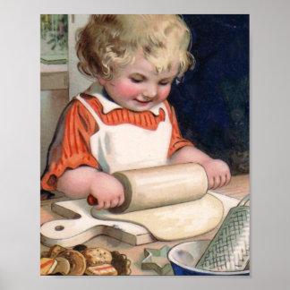 Galletas de la hornada de la niña poster
