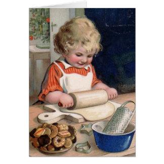 Galletas de la hornada de la niña tarjeta de felicitación